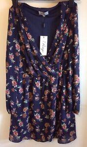 Women's  Floral Print Wrap Dress Long Sleeves Size: 12  (Madam Rage)