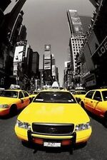 (LAMINATED) NEW YORK YELLOW CABS TIMES SQUARE POSTER (61x91cm)  PICTURE PRINT