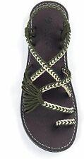 Plaka Palm Leaf Handwoven BoHo Style Flat Sandals Women's US 8