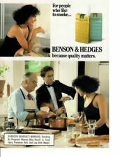 Vintage print ad Tobacco Cigarettes Benson & Hedges Couple Wine Time Cook ad