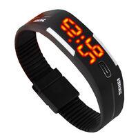 LED Digital Uhr Silikon Sportuhr Herren Damen Armbanduhr Quarzuhr  Wasserdicht