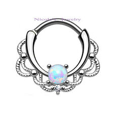 16g Surgical Steel Hinged Clicker Septum Daith Piercing White Opal Nose Ring