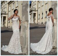 Off Shoulder Lace Mermaid Wedding Dresses Bridal Gown with Tulle Short Sleeve
