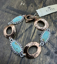Barse Nuance Cuff Bracelet- Turquoise & Mixed Metal- New With Tags