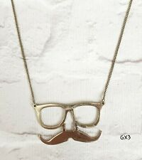 QUIRKY FUN GLASSES AND MOUSTACHE GOLD TONE PENDANT ON CHAIN