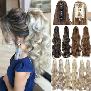 Highlight Thick Claw Ponytail Clip In Hair Extensions Wavy Curly Pony Tail Hair