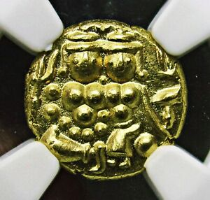 India Mysore, Gold Pagoda NGC MS-66, Superb Details, Lovely Grade, RARE
