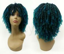"""Dreadlocks Unisex Wig Black and Teal Green Blue Bangs Synthetic 12"""""""