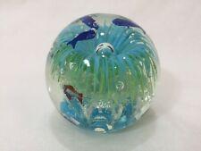 "Vintage Murano Art Glass Ball Fish Paperweight, 4 3/4"" Tall, 4 Lbs 4 Oz"