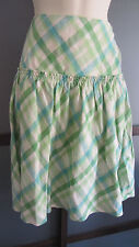 Ann Taylor LOFT Skirt 100% Linen Blue Green Diamond Plaid Print Sz 2