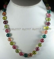 """Beautiful Charming 10mm Multi-color Tourmaline Round Gems Beads Necklace 18"""" AA+"""