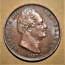 Great Britain 1/2 Penny 1837 Almost Uncirculated Coin - King William IV ***Nice