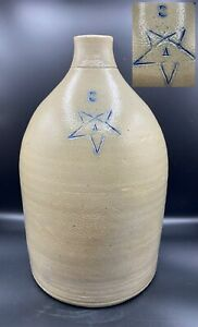 "Antique Stone Gray 3g Jug Crock Marked ""A"" in Inverted Pentagram, Beehive Shape"