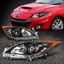 For 10 13 Mazda 3 Pair Black Housing Amber Corner Projector Headlight Head Lamp Fits Mazda 3