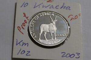 MALAWI 10 KWACHA 2003 PROOF B38 CP9
