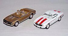 Johnny Lightning Lot of 2 Loose Cars 1969 Camaro White 1967 Camaro Conv Gold