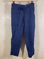 Athleta Ankle Pants Drawstring Linen Navy Blue Women's Size 2