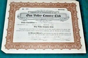 #S238,Seldom Seen Vintage Golf Stock Ojai Valley CC 1925,CA Signed Frank Frost