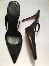 100% Authentic GUCCI Mid-Heel Black Leather Canvas Slip on Pumps Strap 6.5 39.5