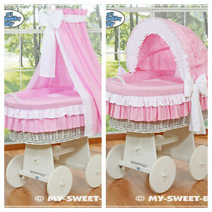 New My Sweet Baby Girls Complete Pink & White Wicker Crib Cot - Hood or Drape