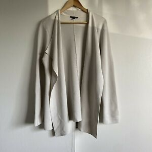 Eileen Fisher Ivory Silk Blend Open Front Cardigan Sweater Draped Front Size XL