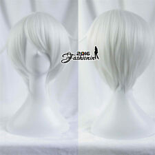 Anime Vocaloid Yan He White Heat Resistant Short Cosplay Basic Wig Bangs+Cap