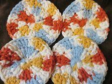 4 Crochet Face Scrubbies. 100 % Cotton FREE P&P (cal)