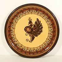 Imposant plat en céramique décor au paon poterie de Soufflenheim Alsace 1983