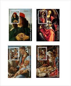 Sandro Botticelli PAINTINGS ART 4 SOUVENIR SHEETS MNH UNPERFORATED