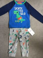 M&S DINOSAUR PYJAMAS WITH BLUE TOP & GREY LONG TROUSERS & DINOSAURS 18-24m- BNWT