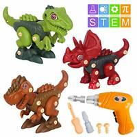 Vanplay Take Apart Dinosaur Toy with Electric Drill, DIY Construction Set