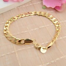 Elegnat 18K Yellow Gold Filled Bracelet Chic Chain Bangle Cuff Xmas Gift Jewelry