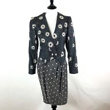 VTG 80s Emanuel Ungaro Skirt 2 Piece Set Embrodiered Floral Polka Dot Size 6
