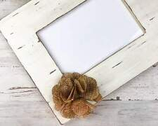 Distressed farmhouse 4x6 antique white embellished wooden tabletop picture frame