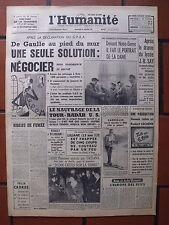 ▬►L'HUMANITÉ 18 JANVIER 1961 DE GAULLE AU PIED DU MUR (ORAN)_LOUIS DE FUNES