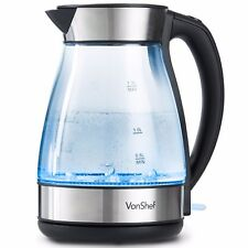 VonShef Glass Kettle  Blue Illuminating Cordless Electric Jug LED 3000W 1.7L
