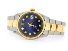 Rolex Datejust 1601 Mens Stainless Steel & Yellow Gold Watch Blue Diamond Dial