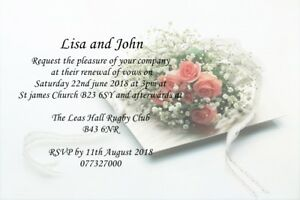 50 VINTAGE PERSONALISED ROSE  WEDDING INVITATIONS WITH ENVELOPES VARIOUS COLOURS