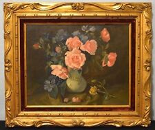 Oil Painting Roses Floral Artist Othello Pardini Spain Vintage Gold Gilt Framed