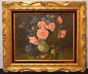 Oil Painting Roses Floral Artist Othello Pardini Spain Vintage Gold Gilt Framed