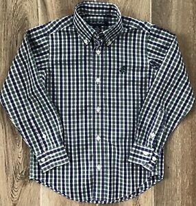 NWOT BROOKS BROTHERS non-iron plaid buttondown shirt boys XS 5-6 navy/ecru/pine