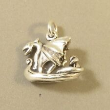 .925 Sterling Silver 3-D VIKING SHIP CHARM Dragon Sail Boat Norse NEW 925 TR20