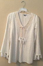 Cowgirl Top Tunic Ivory Lace S Western Cream Shirt Blouse Work Business Office