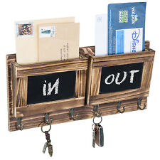 MyGift 2 Slot Brown Wood Wall Mounted Mail Holder with 6 Key Hooks & Chalkboards