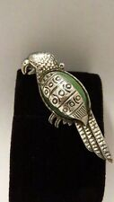PARROT SILVER BROOCH 925 STERLING BROOCH MEXICO 13 GRAM VINTAGE GREEN STONE BIRD
