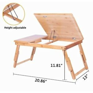 Ktaxon Bamboo Adjustable Portable Folding Tray Bed Work From Home Laptop Desk