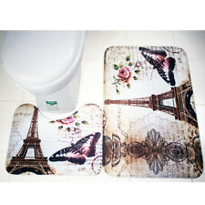 Bathroom Paris Eiffel Tower Toilet Seat Non-Slip Rug Mat Pad Carpet Modern Decor