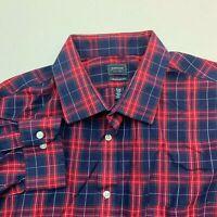 Arrow Dress Shirt Mens 18 Red Blue 34/35 Sleeve Regular Fit Plaid Wrinkle Free