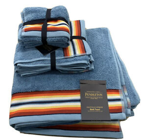 Pendleton Saltillo Stripe Bath Hand Face Towel Set Blue 6 Pc. Set 100% Cotton