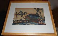 Katsushika Hokusai Wood Block Print Harumichi no Tsuraki- Man Sawing Lumber